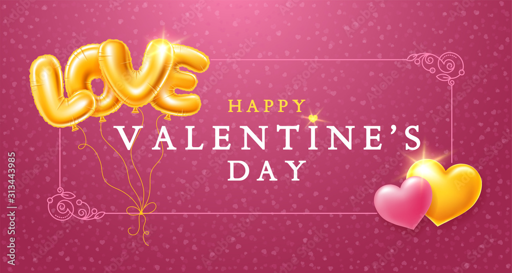 Fototapeta Happy Valentines Day Greeting Card With Golden Balloons Letters LOVE