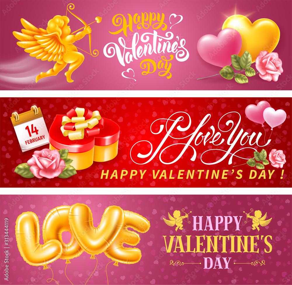 Fototapeta Valentines Day Horizontal Banners Set