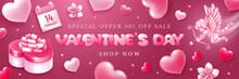 Valentines Day Sale Banner Wit...