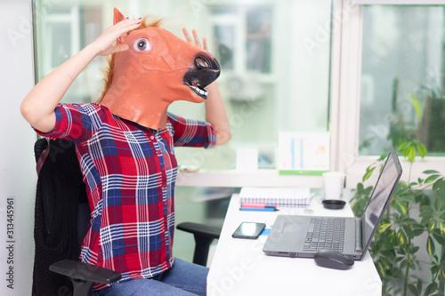 Photo Horse Head Business Girl. Horse Head Mask Portraiture.