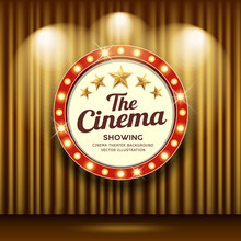 Cinema Theater Vector And Circle Sign Red And Gold Light Up Curtains Gold Design Background, Illustration
