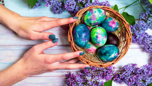 Hands Reaching Painted Easter Egg
