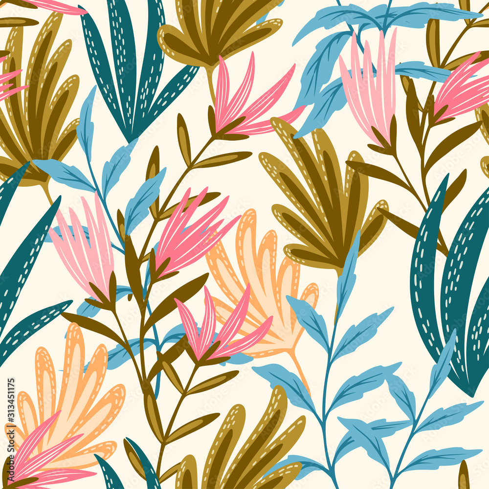 Fototapeta Seamless floral pink and blue