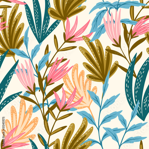 Valokuvatapetti Seamless floral pink and blue