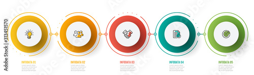 Timeline Infographic vector design label with marketing icons and 5 steps, circles. Can be used for workflow diagram, info chart, graph, presentation.