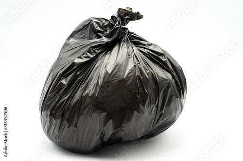 Fototapety, obrazy: Black garbage bag isolated on white background.