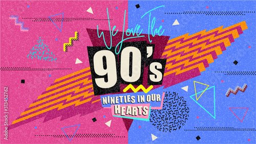 Obraz 90s and 80s poster. Retro style textures and alphabet mix. Aesthetic fashion background and eighties graphic. Pop and rock music party event template. Vintage vector poster, banner. - fototapety do salonu