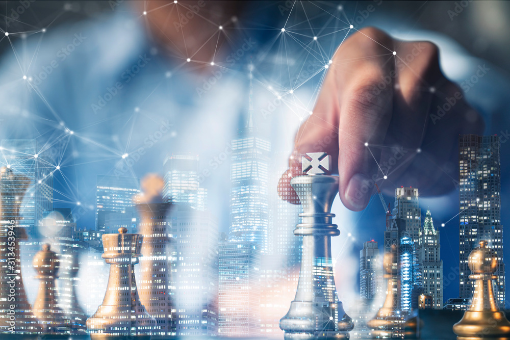 Fototapeta business organize strategy brainstorm chess board game with hand touch king figure double exposure with digital graphic line connecting diagram business ideas concept