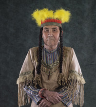 Portrait Of An Old Red Indian Chief Apache