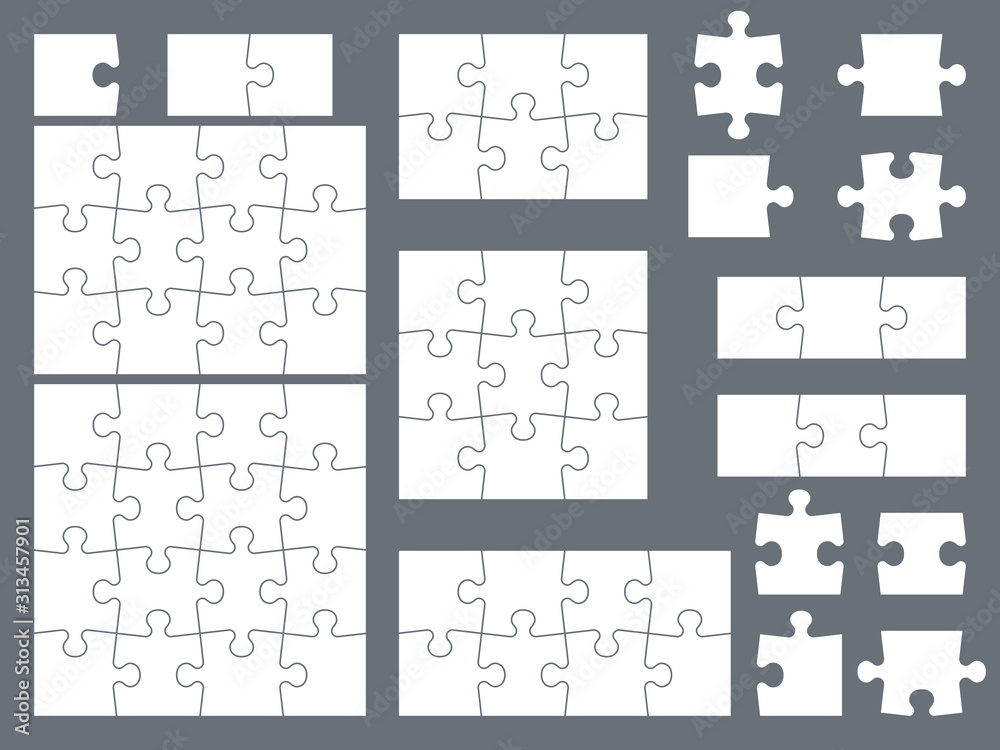 Fototapeta Puzzle pieces. Parts of puzzles for creative game, consistency thinking and solution in assembly of graphic image. Vector templates
