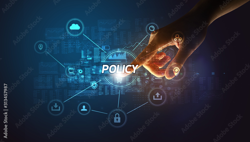 Fototapeta Hand touching POLICY inscription, Cybersecurity concept
