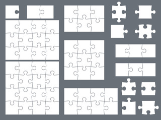 Puzzle pieces. Parts of puzzles for creative game, consistency thinking and solution in assembly of graphic image. Vector templates