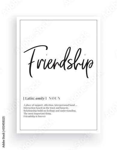 Friendship definition, Scandinavian Minimalist Design, Wall Decor, Wall Decals V Canvas Print