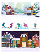 Set of happy citizens enjoying snowy winter. Flat vector illustrations of kids playing snowballs, making snowman, skiing. Winter leisure concept for banner, website design or landing web page