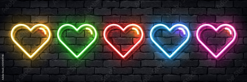 Fototapeta Vector set of realistic isolated neon sign of colorful hearts for template decoration and layout covering on the wall background. Concept of Happy Valentines Day.