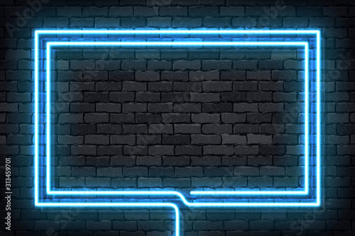 Fototapeta Vector realistic isolated neon sign of blue rectangle frame for template and layout on the wall background. obraz
