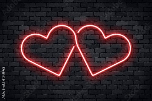 Obraz Vector realistic isolated neon sign of Heart for template decoration and layout covering on the wall background. Concept of Happy Valentines Day. - fototapety do salonu
