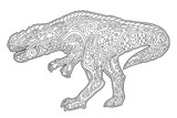 Fototapeta Dinusie - Hand drawn art for coloring book with tyrrannosaur