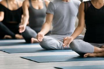 Diverse people meditating at group lesson, practicing yoga, Lotus pose