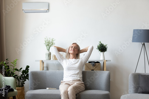 Cuadros en Lienzo Calm elderly woman relax on couch breathe fresh air