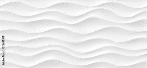 White abstract wavy texture. Seamless modern pattern with waves. - 313465915