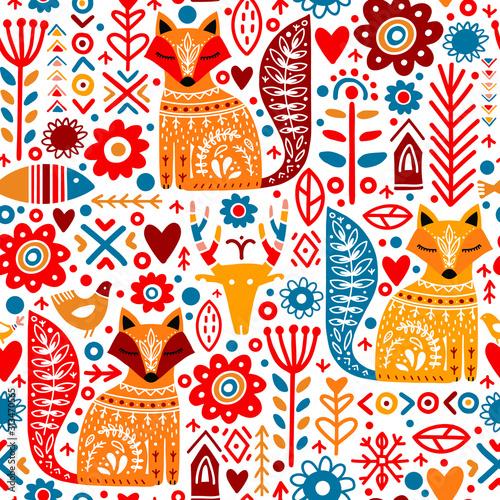 Tapety Skandynawskie  rosliny-ludowe-lisy-jelenie-kwiaty-wzor