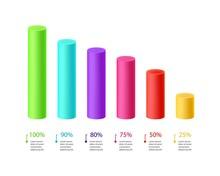 3d Bar Chart, Graph Diagram Color Cylinder Statistical Business Infographic Vector Illustration.