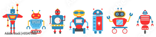 Set Robot Character. Androids, Monsters, Cyborgs, Humanoids Wallpaper Mural