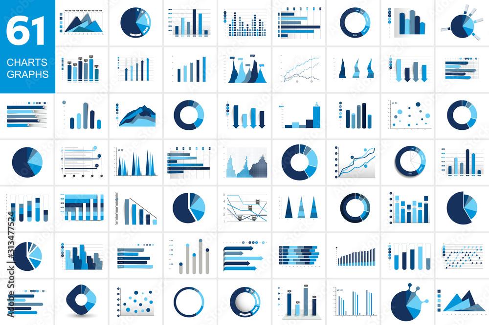 Fototapeta Mega set of charst, graphs. Blue color. Infographics business elements.