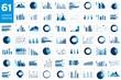 Mega set of charst, graphs. Blue color. Infographics business elements.
