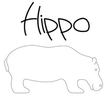 Hippo Cartoon, Vector Illustra...