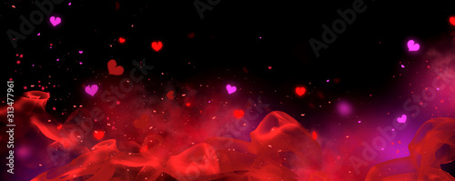 Valentine's Day red and black Background. Holiday Blinking Abstract Valentine Backdrop with Glowing Hearts. Heart Shape Bokeh. Love concept. Valentines art vivid design. Romantic wide screen banner - 313477961