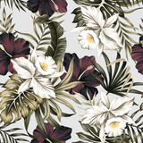 Tropical vintage white orchid, purple hibiscus flower, palm leaves floral seamless pattern grey background. Exotic jungle wallpaper. - 313478972