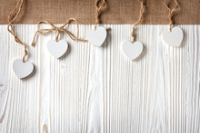 Hearts With Burlap Border On A Old White Wooden Background With Copy Space In Rustic Style