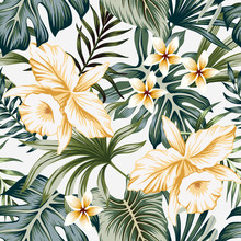 Tropical Vintage Yellow Orchid Flower, Palm Leaves Floral Seamless Pattern Grey Background. Exotic Jungle Wallpaper.