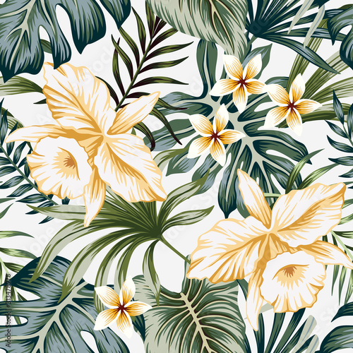 Tropical vintage yellow orchid flower, palm leaves floral seamless pattern grey background. Exotic jungle wallpaper. Wall mural