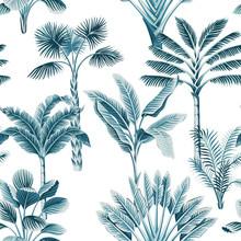 Tropical Vintage Blue Palm Tre...