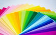 canvas print picture - The square pieces of felt spread out by a color spectrum on similarity of a rainbow: from shades of pink, yellow, green, blue, purple and bright violette at the end. White background. Copy space