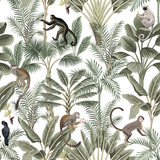 Tropical vintage monkey, sloth, black bird, palm trees, banana tree floral seamless pattern white background. Exotic jungle wallpaper. - 313479327