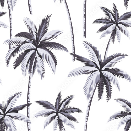 Tropical vintage botanical grey palm tree floral seamless pattern white background. Exotic jungle wallpaper. Wall mural