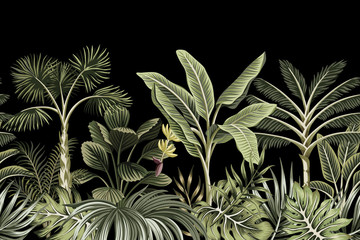 Panel Szklany Drzewa Tropical night vintage palm tree, banana tree and plant floral seamless border black background. Exotic dark jungle wallpaper.