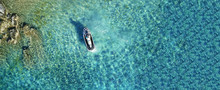 Aerial Drone Ultra Wide Photo Of Jet Ski Watercraft Docked In Tropical Exotic Lake