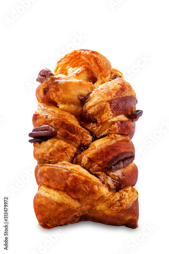 Maple and pecan plait Danish pastry on a white isolated background Fototapete