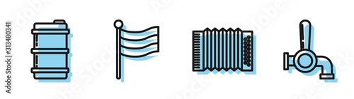 Cuadros en Lienzo Set line Musical instrument accordion, Metal beer keg, National Germany flag and Beer tap icon