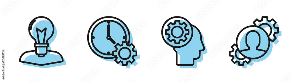Fototapeta Set line Human head with gear inside, Human head with lamp bulb, Time Management and Human with gear inside icon. Vector