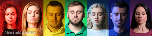 Collage of people with different colors of their auras Canvas Print