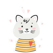 T-shirt Print Design For Kids With Little Cute Cat Head With Hearts. Kitten Face. Doodle Cartoon Kawaii Animal Vector Illustration. Scandinavian Print Or Poster Design, Baby Shower Greeting Card