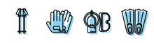 Set Line Diving Mask And Aqualung, Ski Poles, Gloves And Rubber Flippers For Swimming Icon. Vector