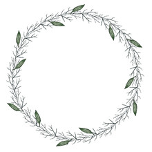 Hand Drawn Watercolor Illustration. Round Frame Beautiful Wreath With Leaves, Branches. Design For Wedding Invitations, Greeting Cards, Save The Date Invitation, Prints, Postcards And Other Design.