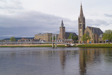 The Greig Street Bridge Over The River Ness And Two Churches In Inverness